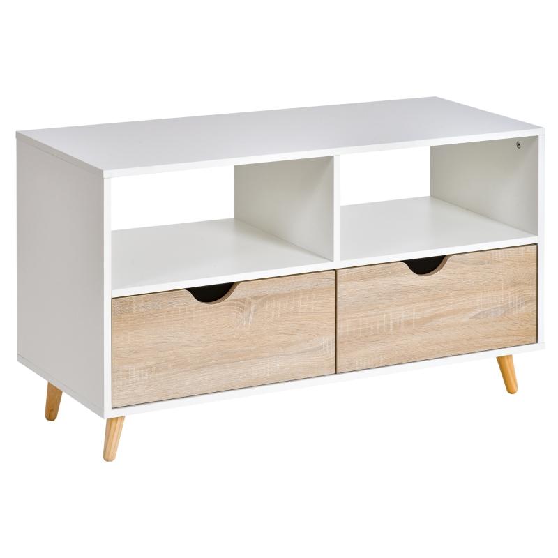 Tv-meubel tv-dressoirkast met schuiflades hout wit + naturel
