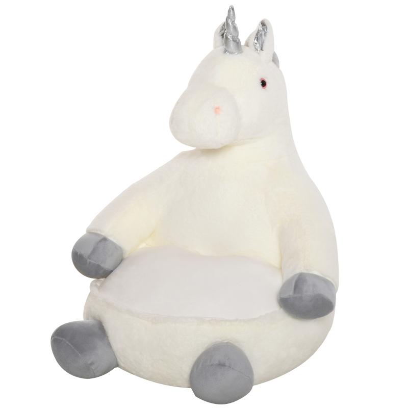 Pluche kinderfauteuil knuffel speelgoed kinderstoel eenhoorn voor kinderkamer 59 x 58 x 68 cm