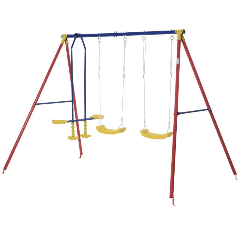 Kinderschommel tuinschommel 2 schommels met wip in hoogte verstelbaar van 3-5 jaar