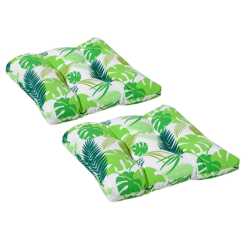 Set van 2 zitkussens 50x45cm stoelkussens zitkussen tuinstoelkussens groen