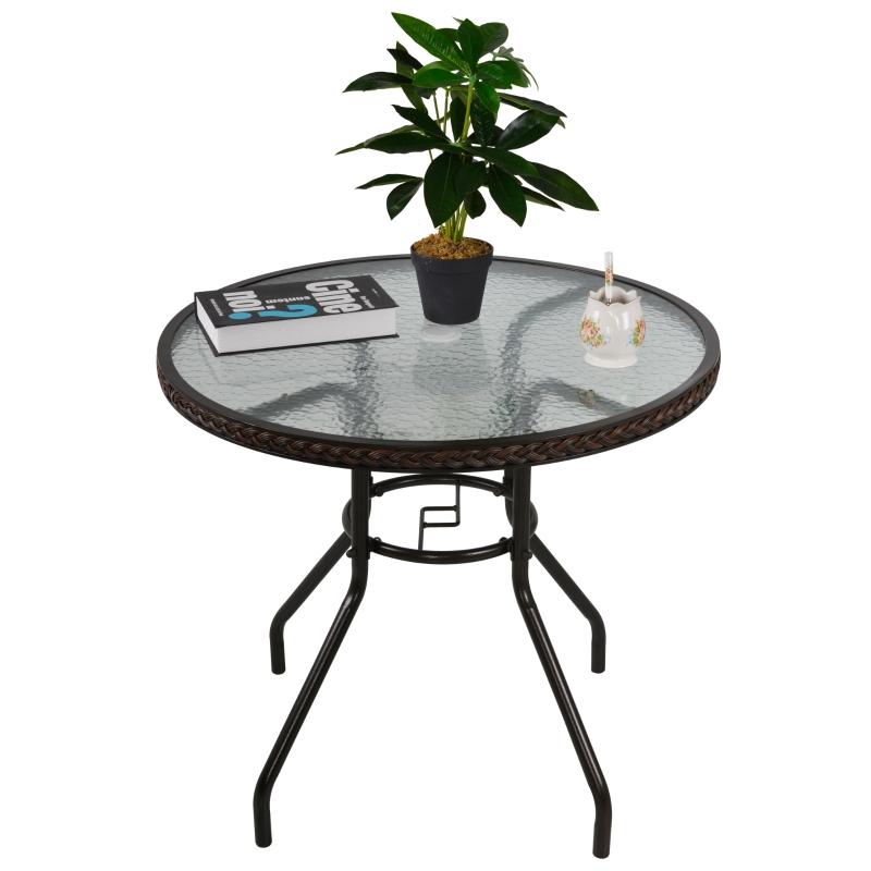 Rotan tuintafel ronde glazen tafel polyrotan + gehard glas Ø80 x 71 cm