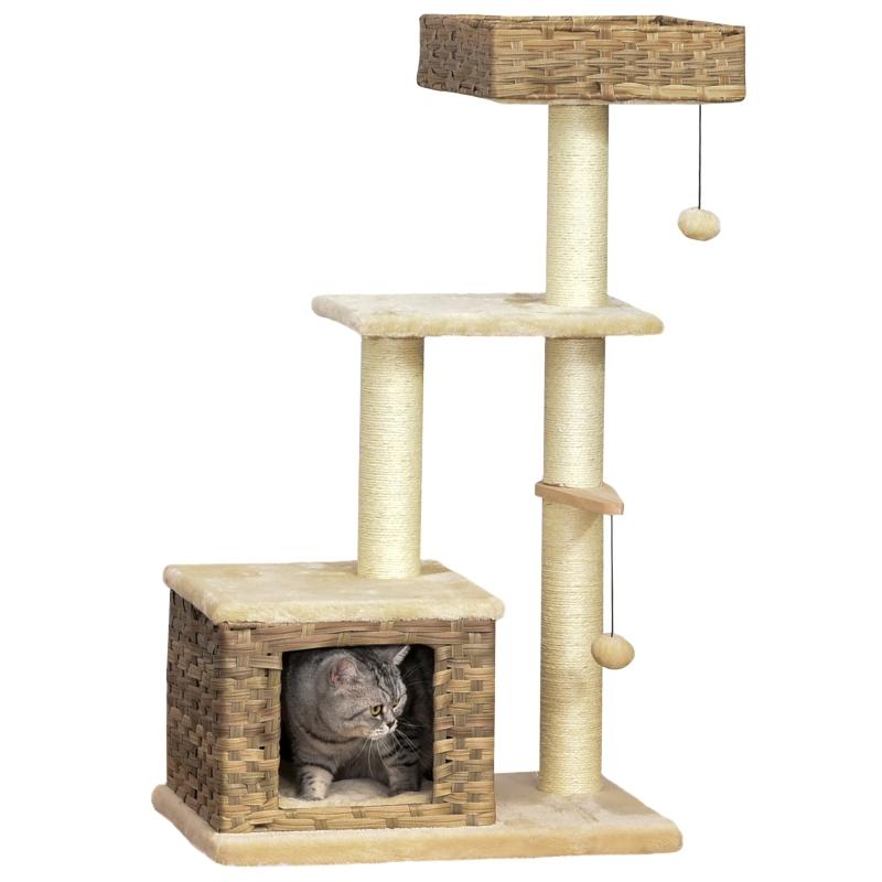 kattenboom multifunctionele krabpaal kattengrot speelbal bruin + beige