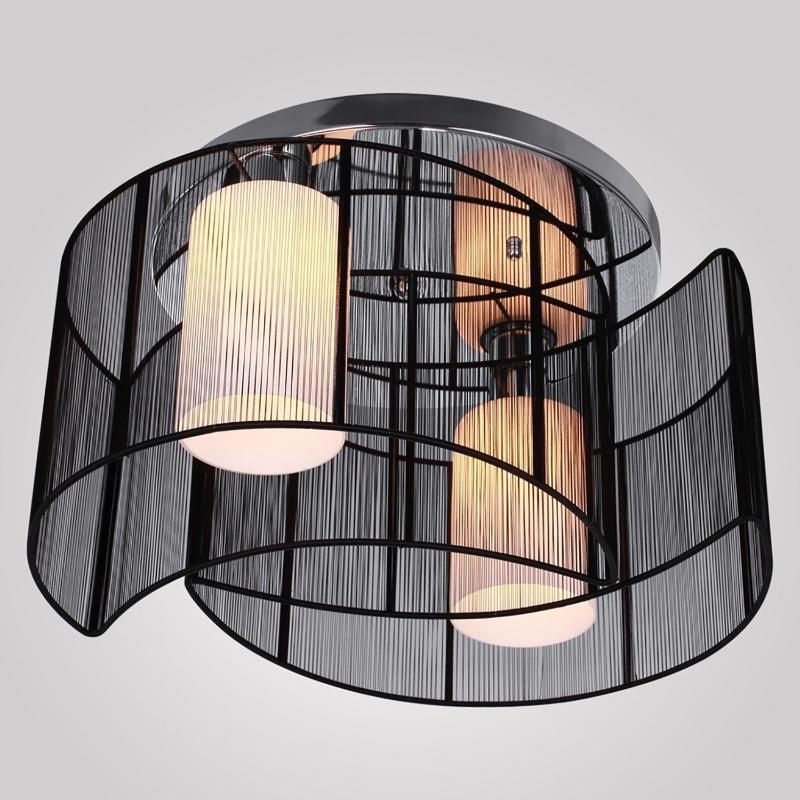 HOMCOM 40x25cm Metal Ceiling Light Pendant with Fabric Finish Black