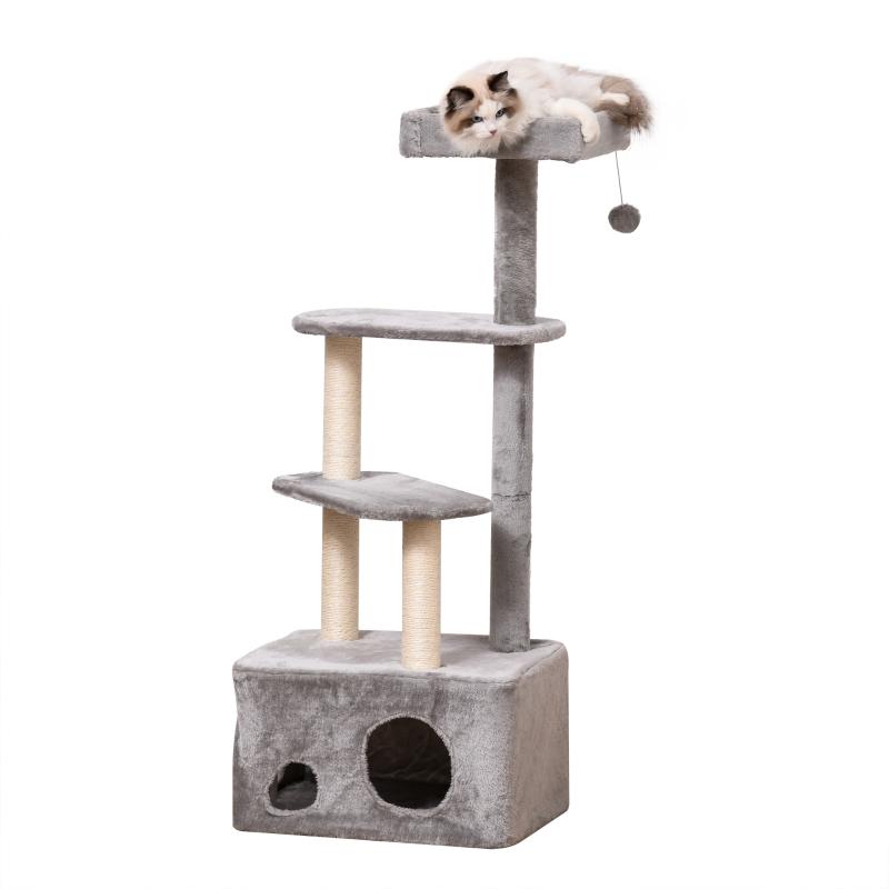 Krabpaal kattenboom met kattengrot speelbal E1 MDF sisal grijs