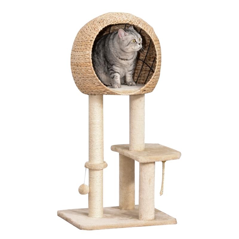 kattenboom krabpaal kitten meubel met kattengrot sisal zacht pluche beige