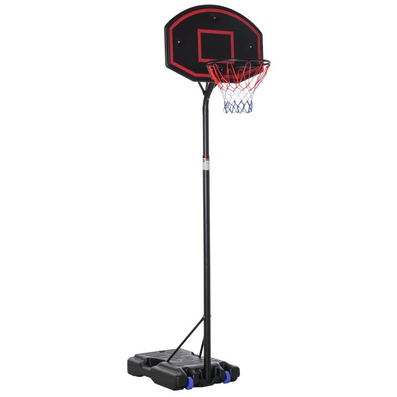 Basketbalstaander basketbalring staander met 2 wielen, 262-310 cm verstelbaar