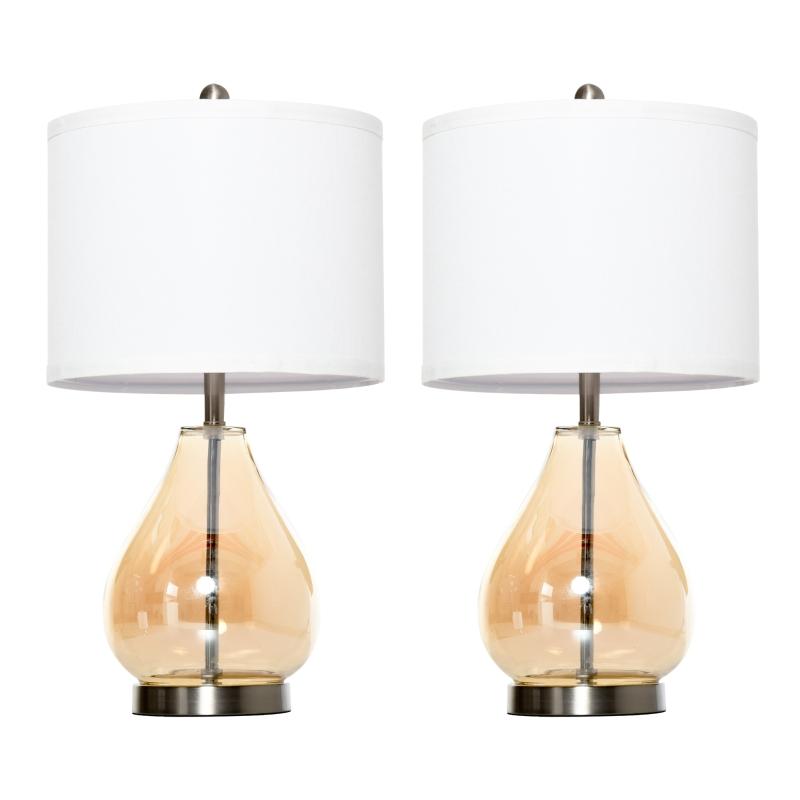 2-set tafellampen tafelverlichting E27 bedlampje linnen glas amber