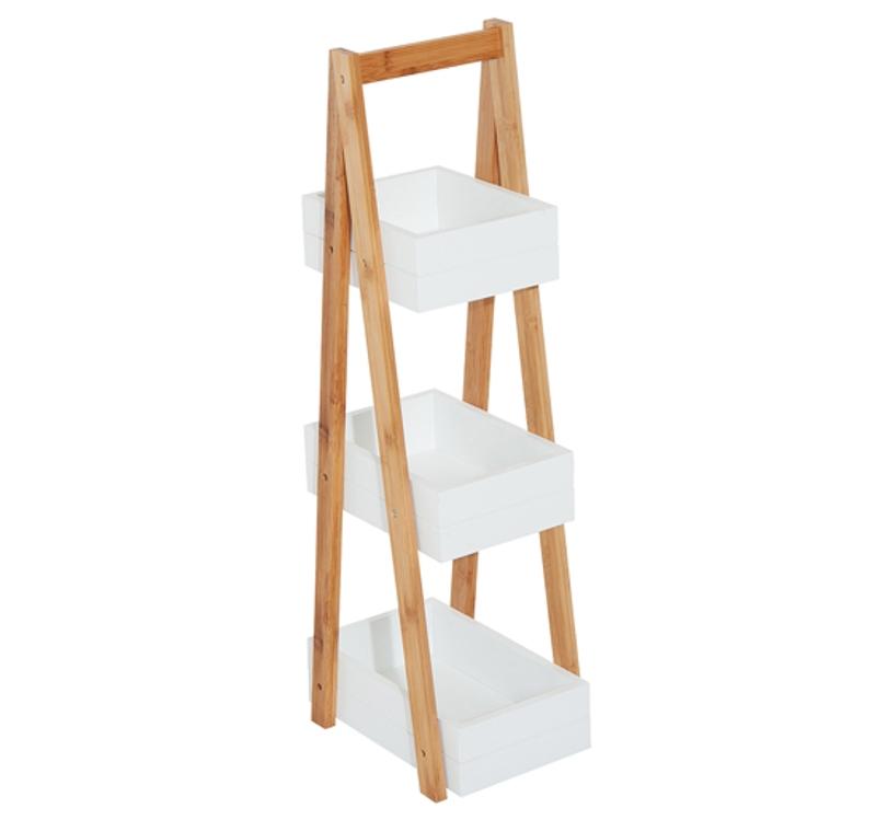 HOMCOM Bathroom A-Shape Rack, 3-Tier-Bamboo