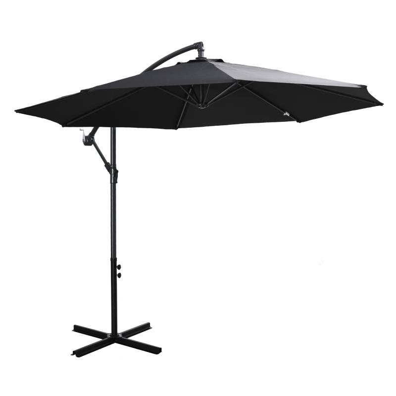 afneembare parasol zweefparasol zwengelparasol met handkruk, zwart