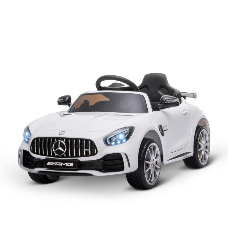 Kindervoertuig Mercedes Benz GTR elektrische auto met afstandsbediening muziek wit