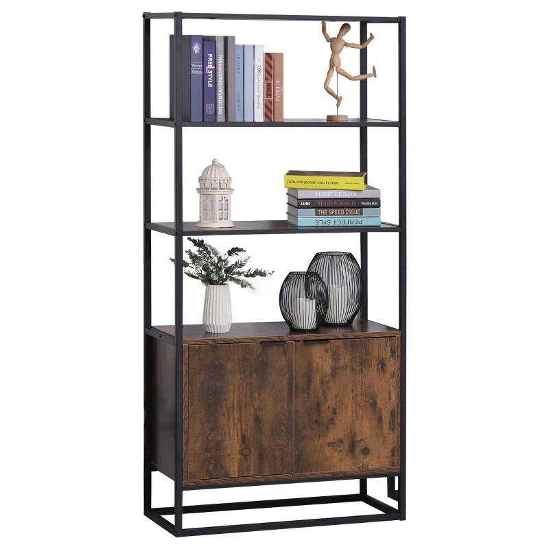 Boekenplank vrijstaande stelling kantoorplank 3 planken met 1 kast industrieel design