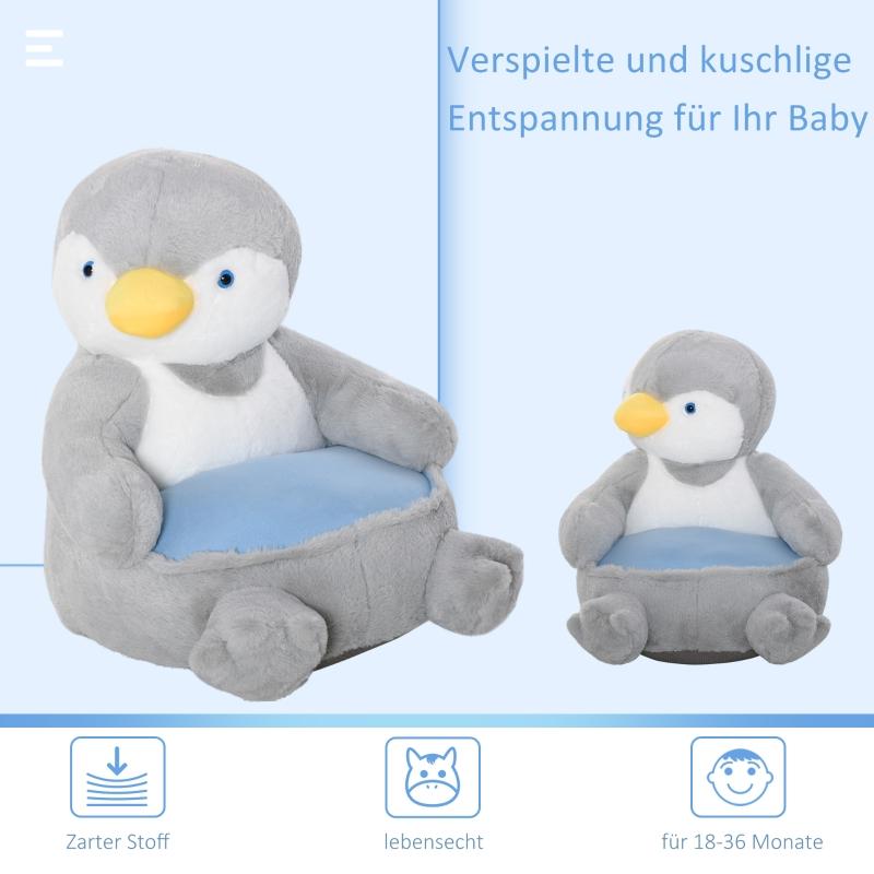 Pluche kinderfauteuil knuffel speelgoed kinderstoel pinguïn voor kinderkamer 59 x 50 x 59 cm