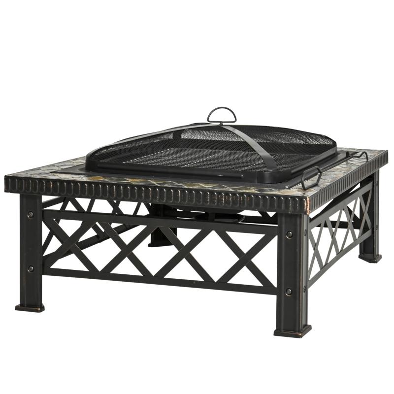 3-in-1 vuurschaal vuurkorf met vonkbescherming grillrooster tuin barbecue zwart