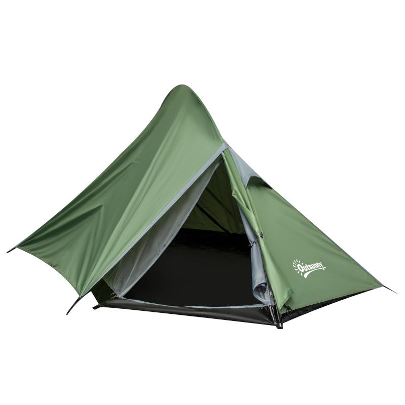 Tent voor 2 personen kampeertent met haringen polyester glasvezel donkergroen