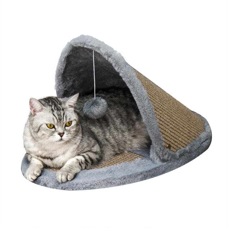 kattenbed kattenhuis omkeerbaar dak 2-in-1 krabbed voor katten sisal pluche