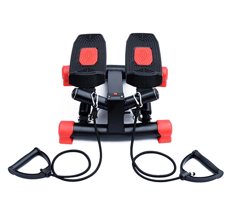 HOMCOM Mini Stepper W/Training Ropes-Black/Red
