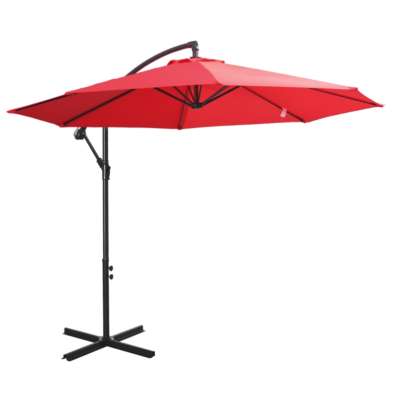 afneembare parasol zweefparasol zwengelparasol met handkruk, rood