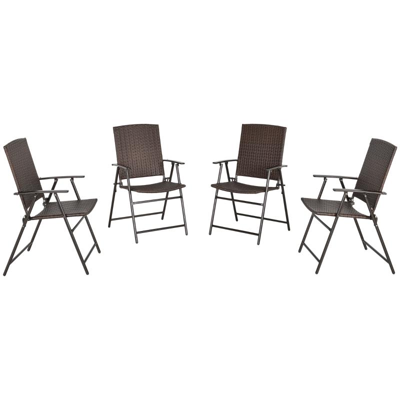 4-delig Poly rotan stoelen opvouwbare tuinstoel met rugleuning buiten staal