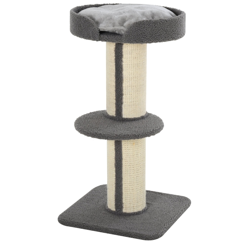 kattenboom speelboom krabpaal met platform sisal pluche grijs