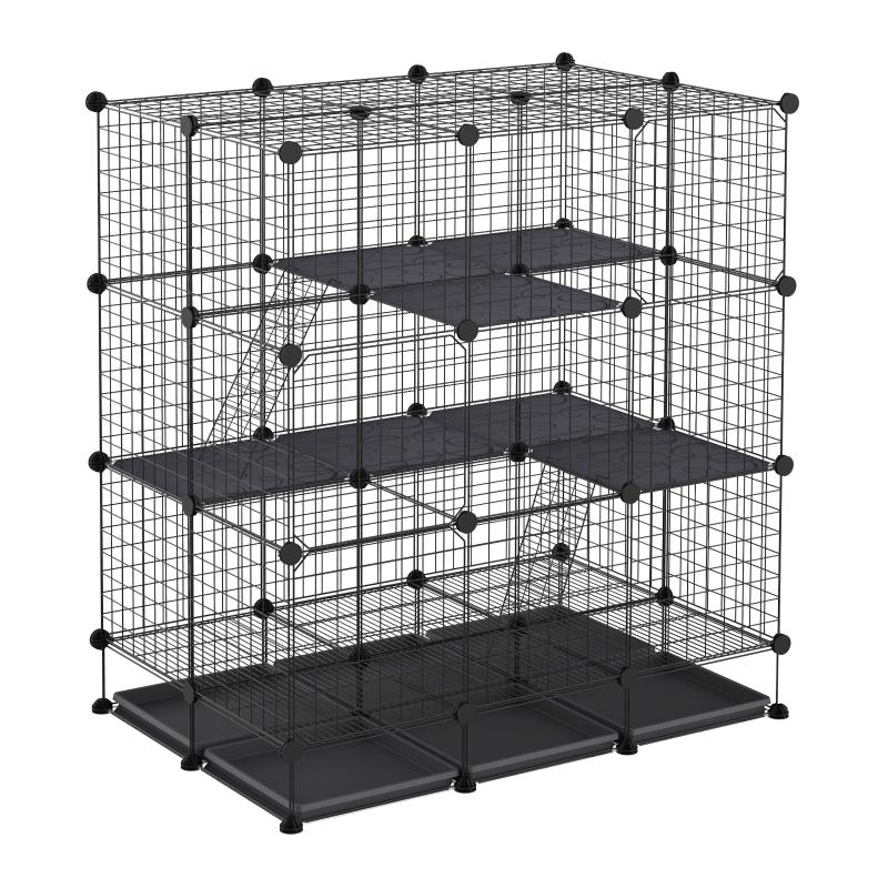 kooi voor kleine huisdieren DIY konijnenkooi met helling verwijderbare plaat staal PP-hars