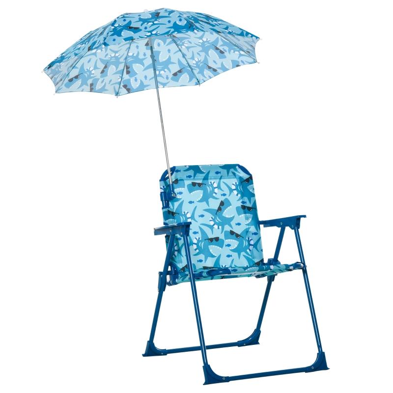 Kinder campingstoel met parasol strandstoel opvouwbaar voor 1-3 jaar blauw
