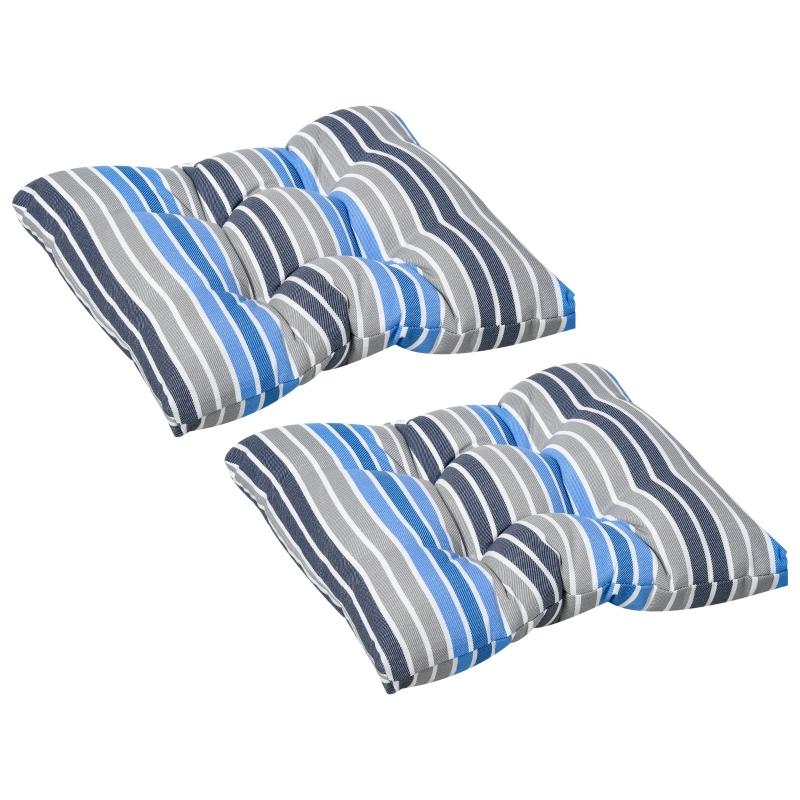 Set van 2 zitkussens 50x45cm stoelkussens zitkussen tuinstoelkussens blauw