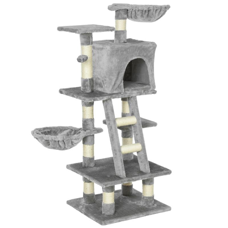 krabpaal met kattengrot kattenboom met meerdere verdiepingen voor katten grijs