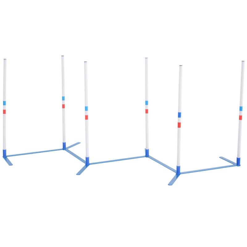 Honden slalompalen behendigheidstraining voor huisdieren Inclusief tas PE wit + blauw