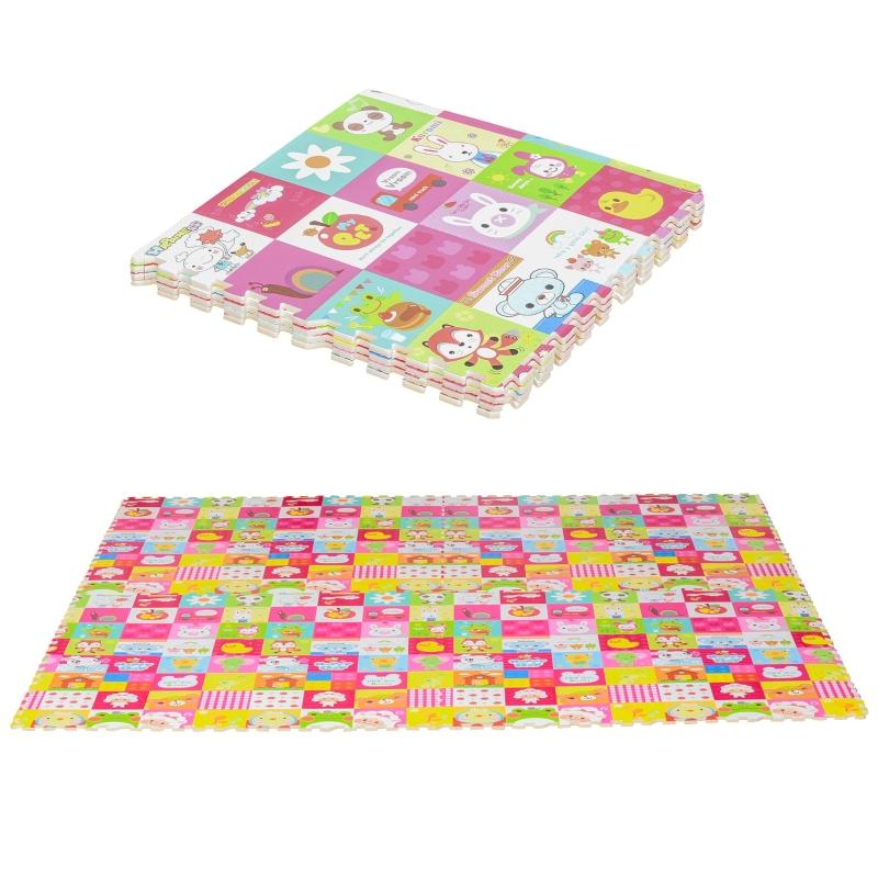 Puzzelmat kindertapijt opvouwbaar EVA kinderdieren patroon 61,5 x 61,5 cm