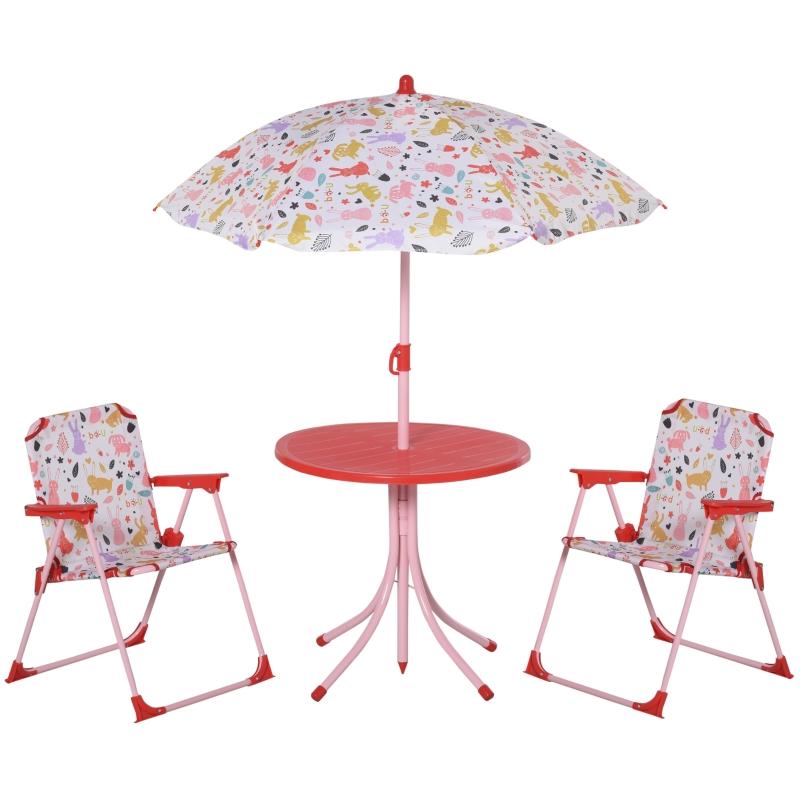 4-delige kinderzitgroep tuintafel 2 klapstoelen parasol 3-5 jaar rood