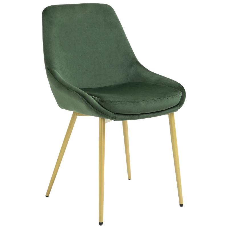 Eetkamerstoel met rugleuning keukenstoel vintage gestoffeerde stoel polyester groen