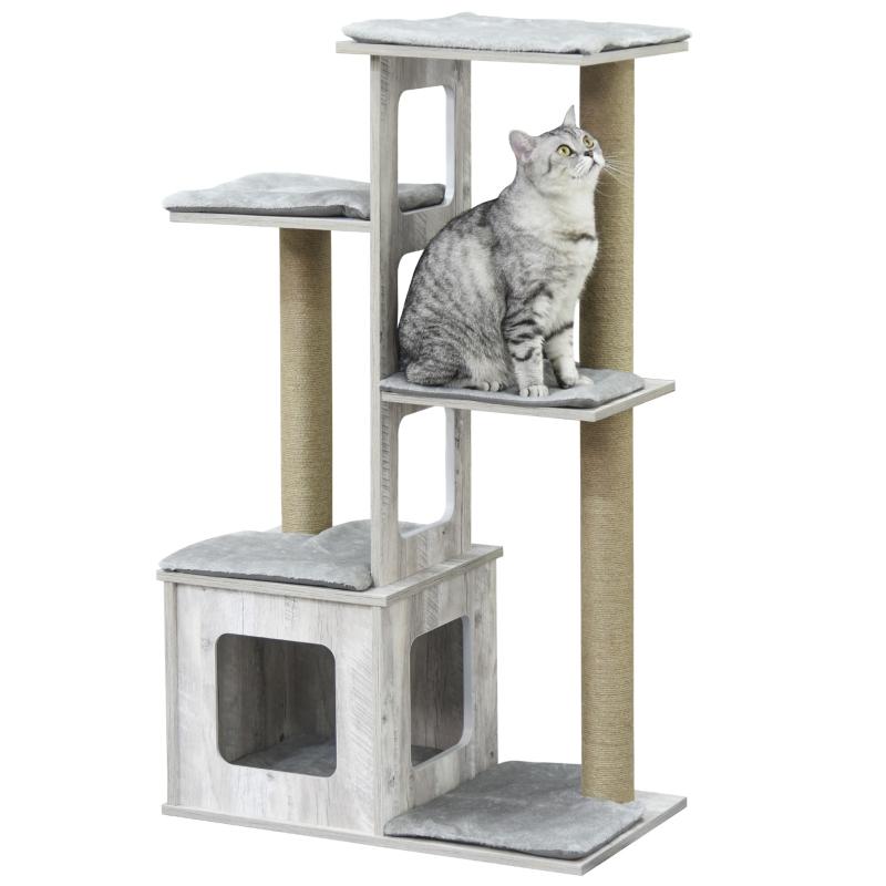 kattenboom krabpaal kattenmeubel, activity center klimrek pluche grijs