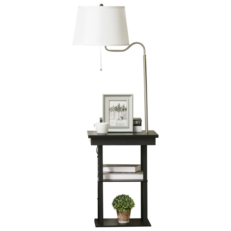 Vloerlamp verlichting bijzettafel met 3 planken E27 tot 40W E1-MDF