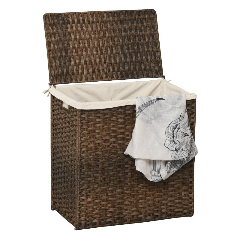 Polyrotan wasmand wasbox met deksel waszak hengsels bruin