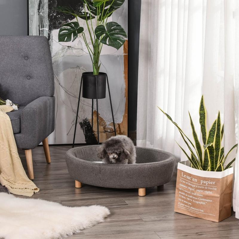 Huisdierenbank hondenbank middelgrote honden katten ovaal donkergrijs