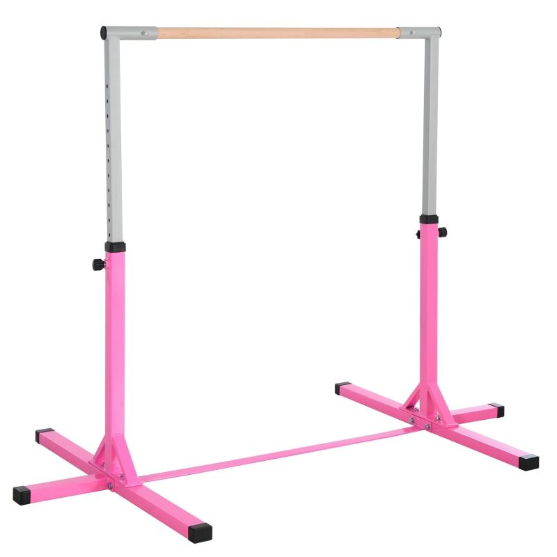 Gymnastiekstang gymnastiek stang rekstok 13 niveaus in hoogte verstelbaar roze