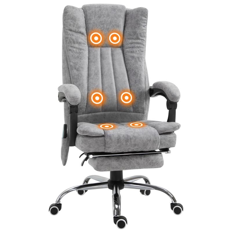 Bureaustoel massagestoel verwarmingsfunctie ligfunctie voetensteun zwart