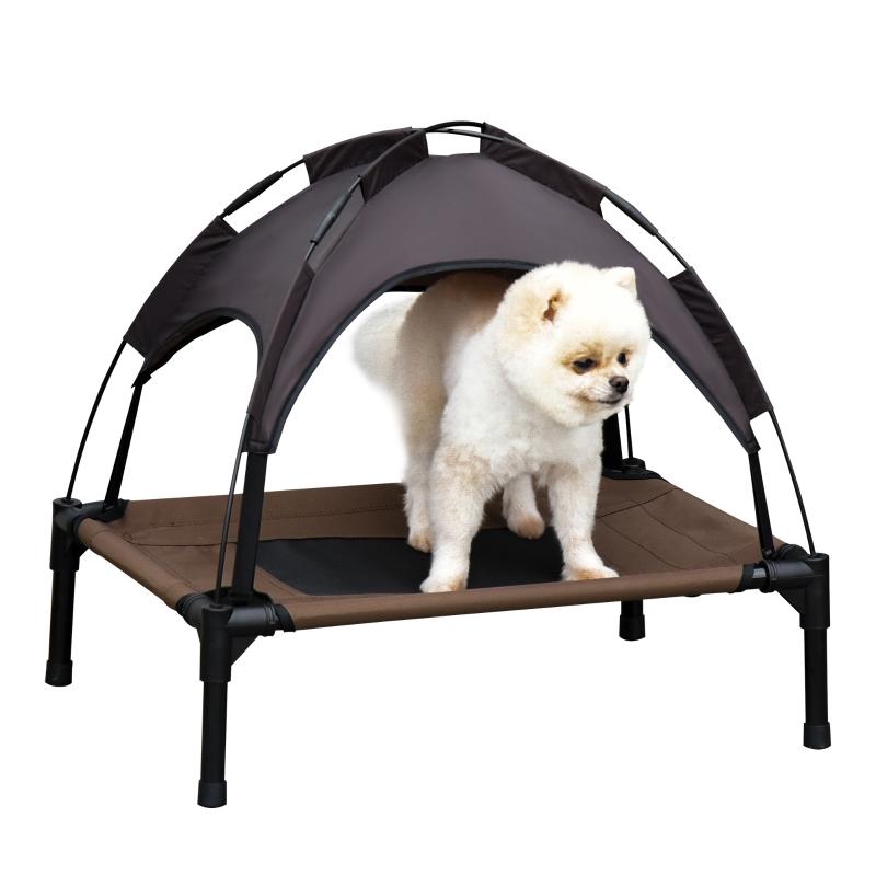 Huisdierenbed met luifel verhoogd hondenbed hondenligbed ademend taft-stof