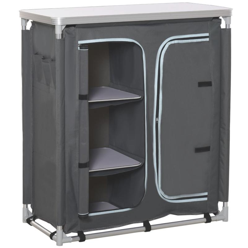 Campingkast inklapbaar keukenbox draagbaar met 3 planken 1 kast grijs