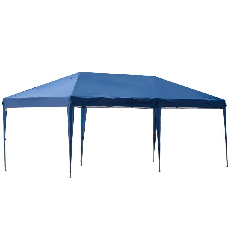 Pop-up paviljoen tuintent in hoogte verstelbaar UV-bescherming donkerblauw 6 x 3m