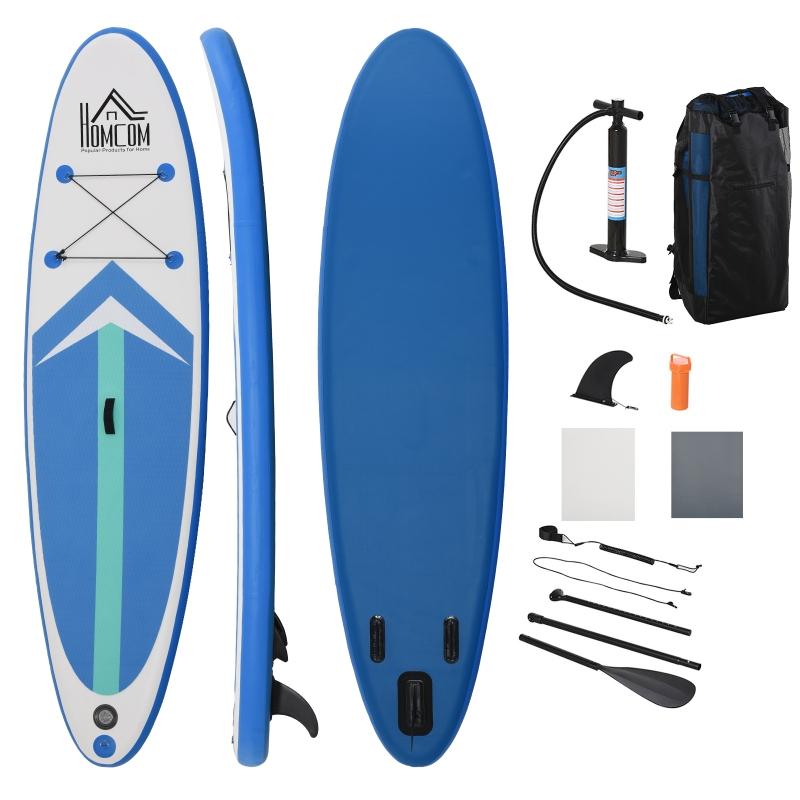 Opblaasbare surfplank met peddel antislip PVC EVA blauw + wit
