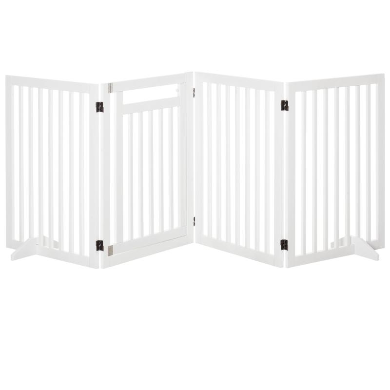 Hondenhek voor dieren inklapbaar hek steunpoten 81 cm wit