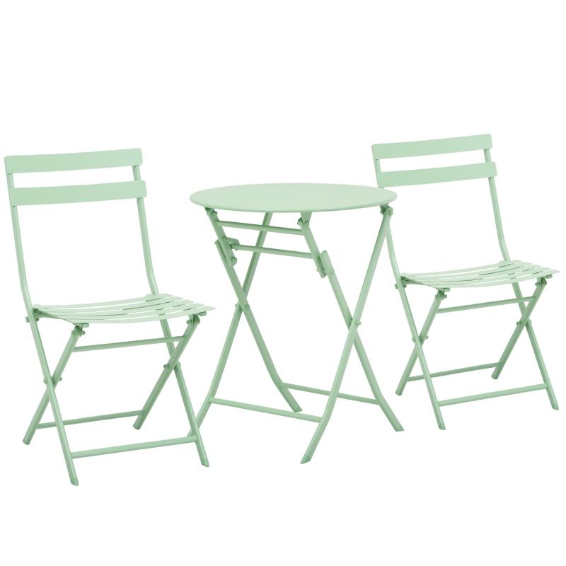 Tuinset metalen meubelset 3-delig. Bistrotafel met 2 stoelen groen