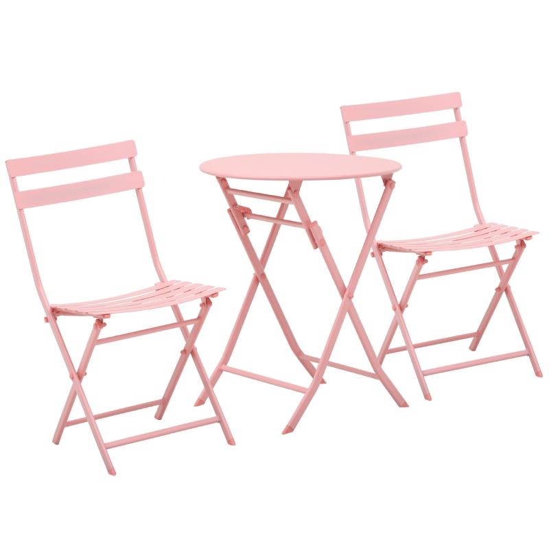Tuinset metalen meubelset 3-delig. Bistrotafel met 2 stoelen roze