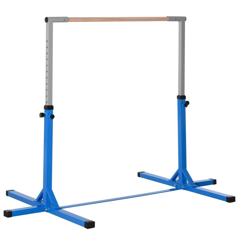Gymnastiekstang gymstang horizontale stang 13 niveaus in hoogte verstelbaar blauw