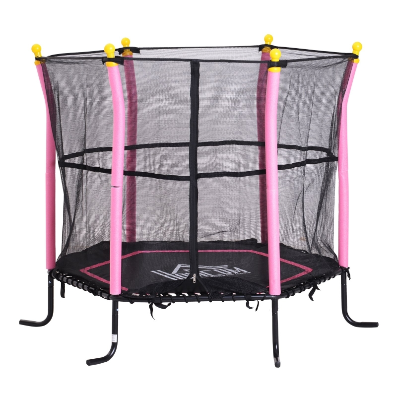 HOMCOM Children's Mini Trampoline Safety Enclosure Net Adventure Bouncer