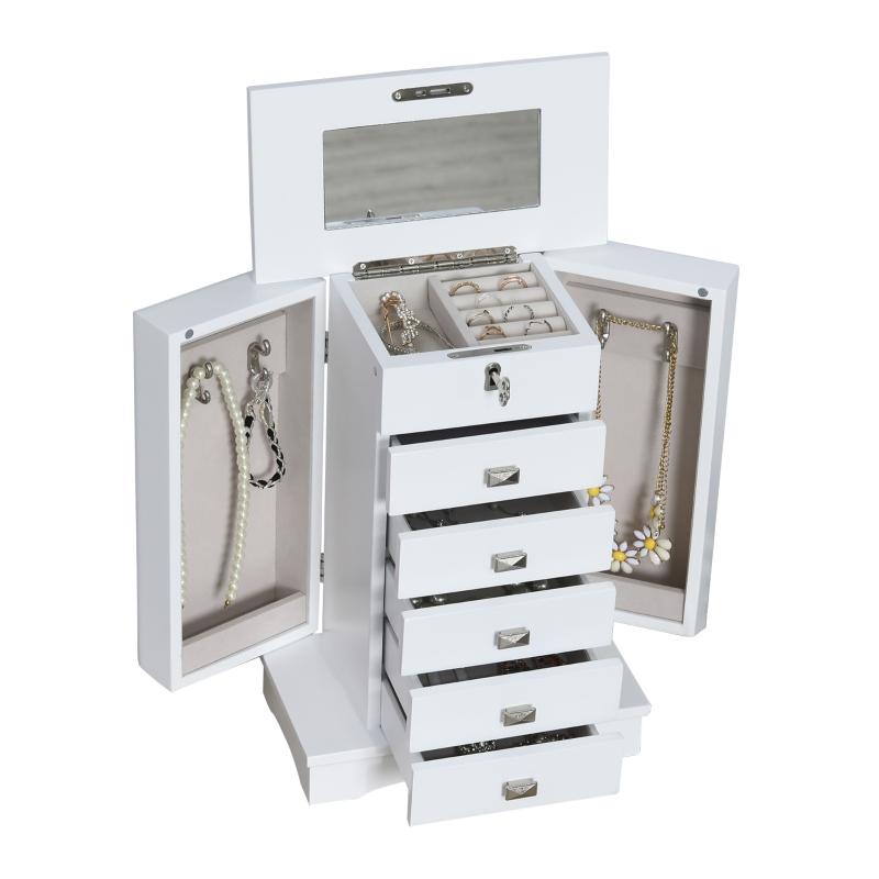 HOMCOM sieradenbox sieradenkastje wit met schuiflades spiegel wit