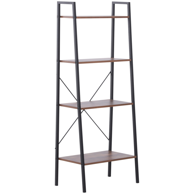HOMCOM 4-Tier Vintage Ladder Shelf Bookcase Storage Rack Stand Plants Display Bookshelf