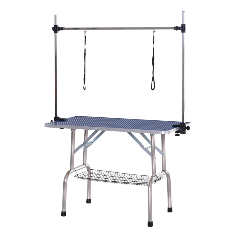 PawHut Dogs Adjustable Height Rubber Top Grooming Table Blue