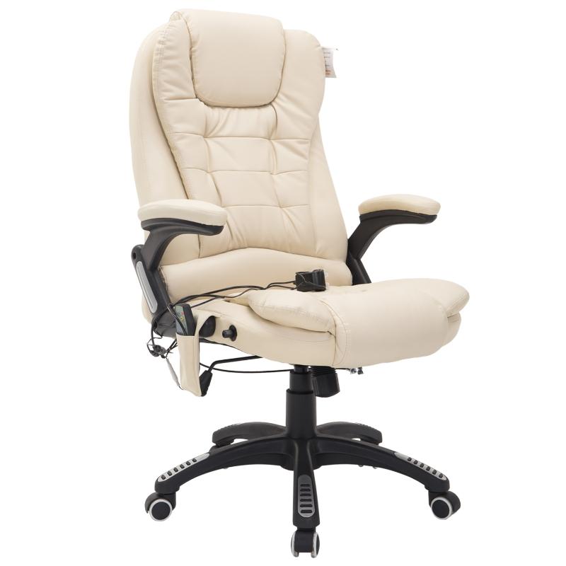 HOMCOM PU Leather Office W/Massage Function, High Back-Cream